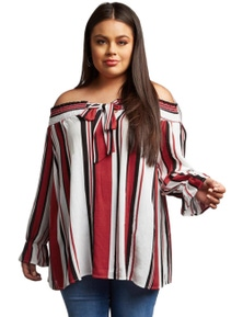 Red Striped Plus Size Off Shoulder Blouse
