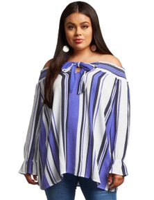 Blue Striped Plus Size Off Shoulder Blouse
