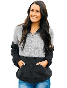 Black Gray Color Block Zip High Neck Fleece Sweatshirt