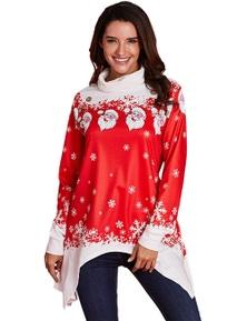 Cowl Neck Santa Claus Snowflake Xmas Tunic Top