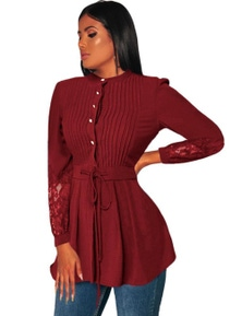 Crinkle Chest Red Lace Panel Peplum Blouse