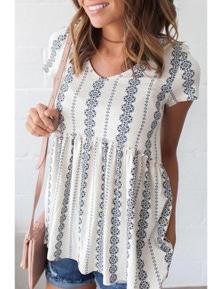 White Short Sleeve V Neck Floral Print Peplum Tunic Top