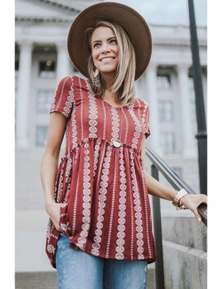 Red Short Sleeve V Neck Floral Print Peplum Tunic Top