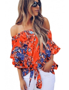 Orange Off Shoulder Floral Tie Front High Low Chiffon Blouse