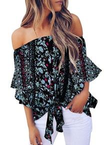 Black Off Shoulder Floral Tie Front High Low Chiffon Blouse