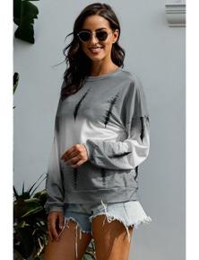 Light Gray Color Block Tie Dye Pullover Sweatshirt