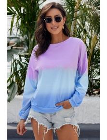 Color Block Tie Dye Pullover Sweatshirt