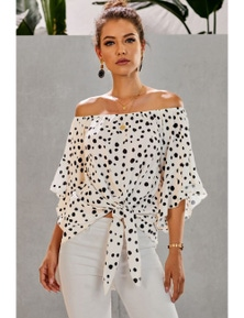 White Polka Dot 3/4 Bell Sleeve Off Shoulder Front Tie Knot Top