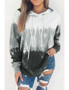 Gray Gradient Long Sleeve Pullover Hoodie