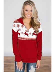 Snowflake and Reindeer Top Zip Neck Sweatshirt
