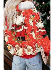 Red Merry Christmas Holiday Cartoon Print Sweatshirt