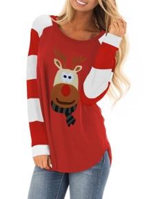 Christmas Cartoon Reindeer Color Block Sleeve Top