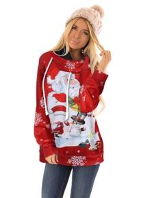 Santa Clause and Snowman Cartoon Hoodie