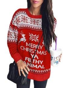 Merry Christmas Ya Filthy Animal Snowflake Reindeer Ugly Christmas Sweater