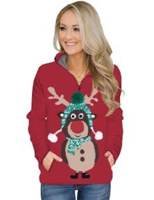Cute Reindeer Print Zip Neck Pullover Sweatshirt