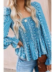 Sky Blue Bohemian Print Shirred Bodice Tunic Top