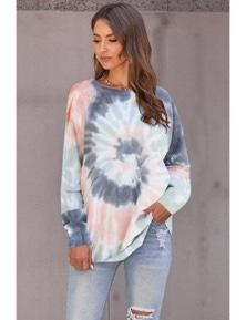 Multicolor Ombre Tie Dye Loose Leisure Sweatshirt