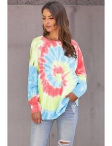 Sky Blue Ombre Tie Dye Loose Leisure Sweatshirt