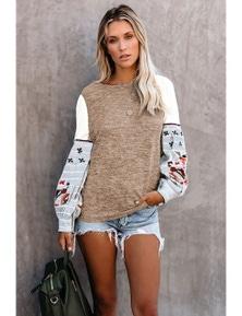 Khaki Contrast Printed Sleeve Knit Sweatshirts