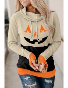 Cowl Neck Pumpkin Print Color Block Halloween Sweatshirt