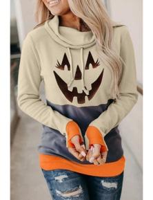 Gray Cowl Neck Pumpkin Print Color Block Halloween Sweatshirt