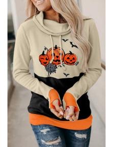 Orange Cowl Neck Pumpkin Print Color Block Halloween Sweatshirt