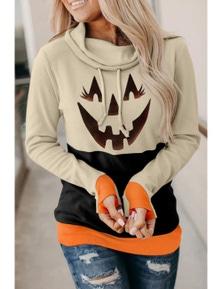 Black Cowl Neck Pumpkin Print Color Block Halloween Sweatshirt