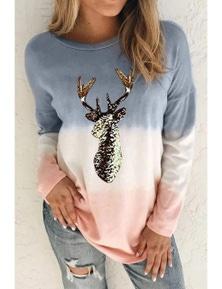 Gray Reindeer Print Gradient Colorblock Sweatshirt
