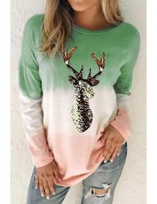 Green Reindeer Print Gradient Colorblock Sweatshirt