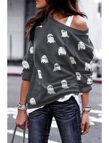 Gray Halloween Ghost Print Sweatshirt