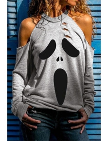 Gray Distressed Halloween Ghost Cold Shoulder Sweatshirt