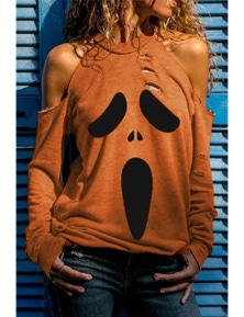 Orange Distressed Halloween Ghost Cold Shoulder Sweatshirt