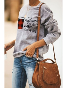 Coffee and Slogan Print Pullover Sweatshirt