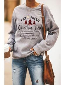 Christmas Tree Letters Print Pullover Sweatshirt