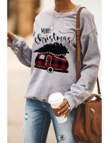 Gray Merry Christmas Letters Print Pullover Sweatshirt