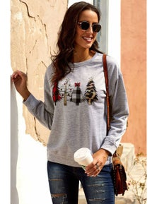 Christmas Tree Print Pullover Sweatshirt