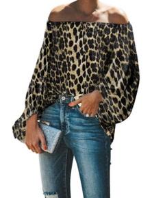 Leopard Print Elastic Neck Off Shoulder Top