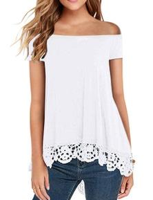 White Off Shoulder A-Line Lace Trim Blouse