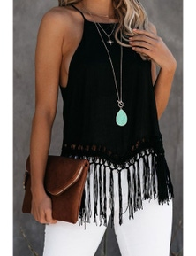 Global Girl Tassel Tank In Black
