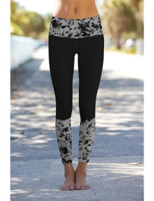 Black Mercury Printed Details Leggings Yoga Pants