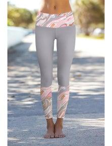 Gray Paisley Printed Details Leggings Yoga Pants