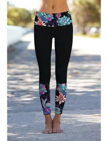 Black Floral Printed Details Leggings Yoga Pants