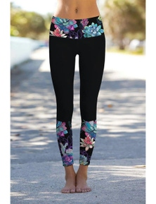 Black Floral Printed Details Leggings Yoga Pants