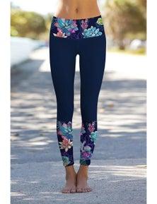 Navy Floral Printed Details Leggings Yoga Pants