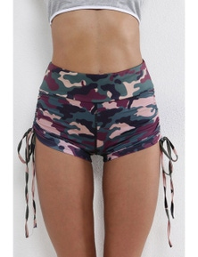 Green Camo Print High Waist Side Ruched Fitness Yoga Shorts