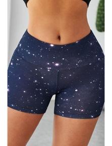 Gray Galaxy Print Booty Yoga Shorts