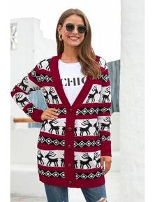 Red Elk Printed Long Sleeves Knitting Mid-length Christmas Cardigan