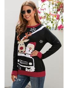 Black Reindeer Santa Clause Cartoon Print Ugly Christmas Sweater
