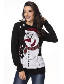 Black Snowman Knit Crew Neck Sweater