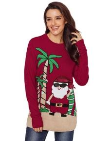 Burgundy Beach Coconut Tree Santa Sweater